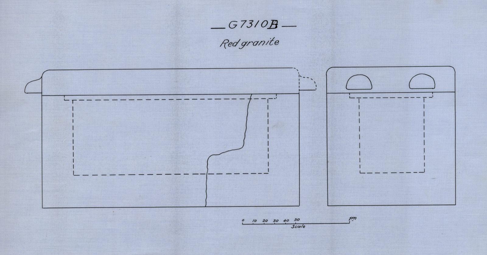 Drawings: G 7310, Shaft B: sarcophagus, red granite