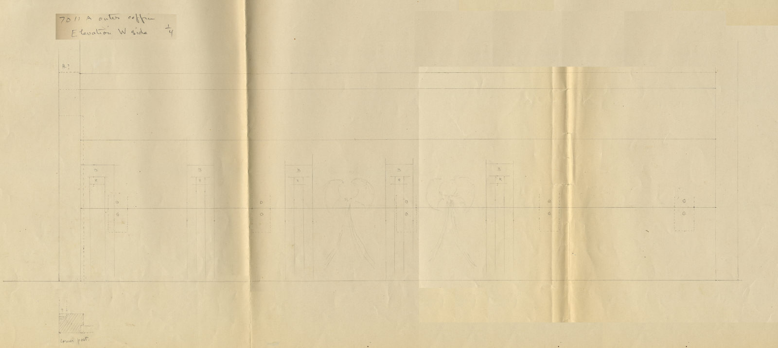 Drawings: G 7011, Shaft A: outer coffin, W side