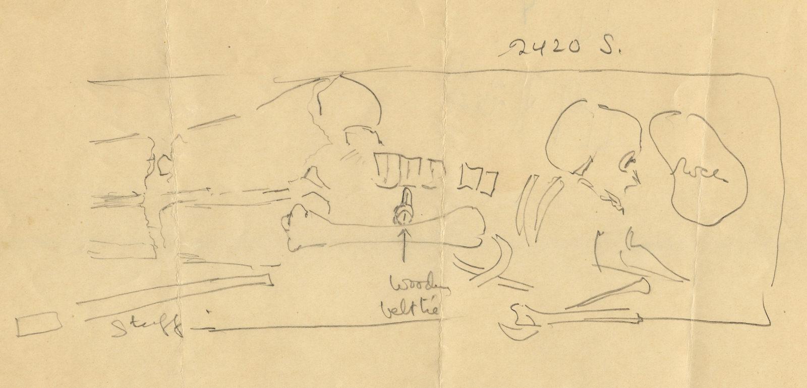 Drawings: G 2420, Shaft S, Sketch plan of burial
