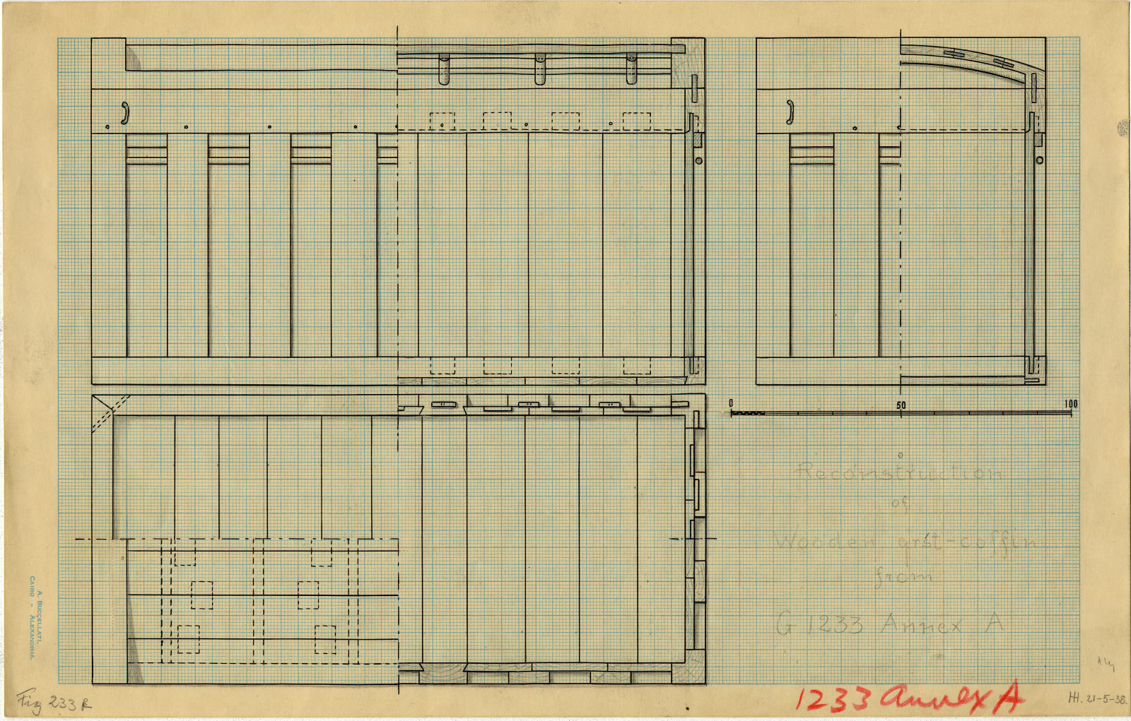 Drawings: G 1233-Annex, Shaft A: coffin, reconstruction