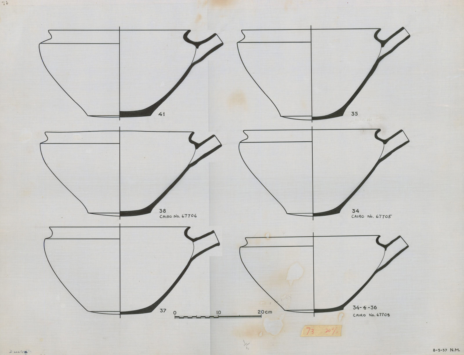 Drawings: G 7000 X: pottery, bowls recurved rim and spout