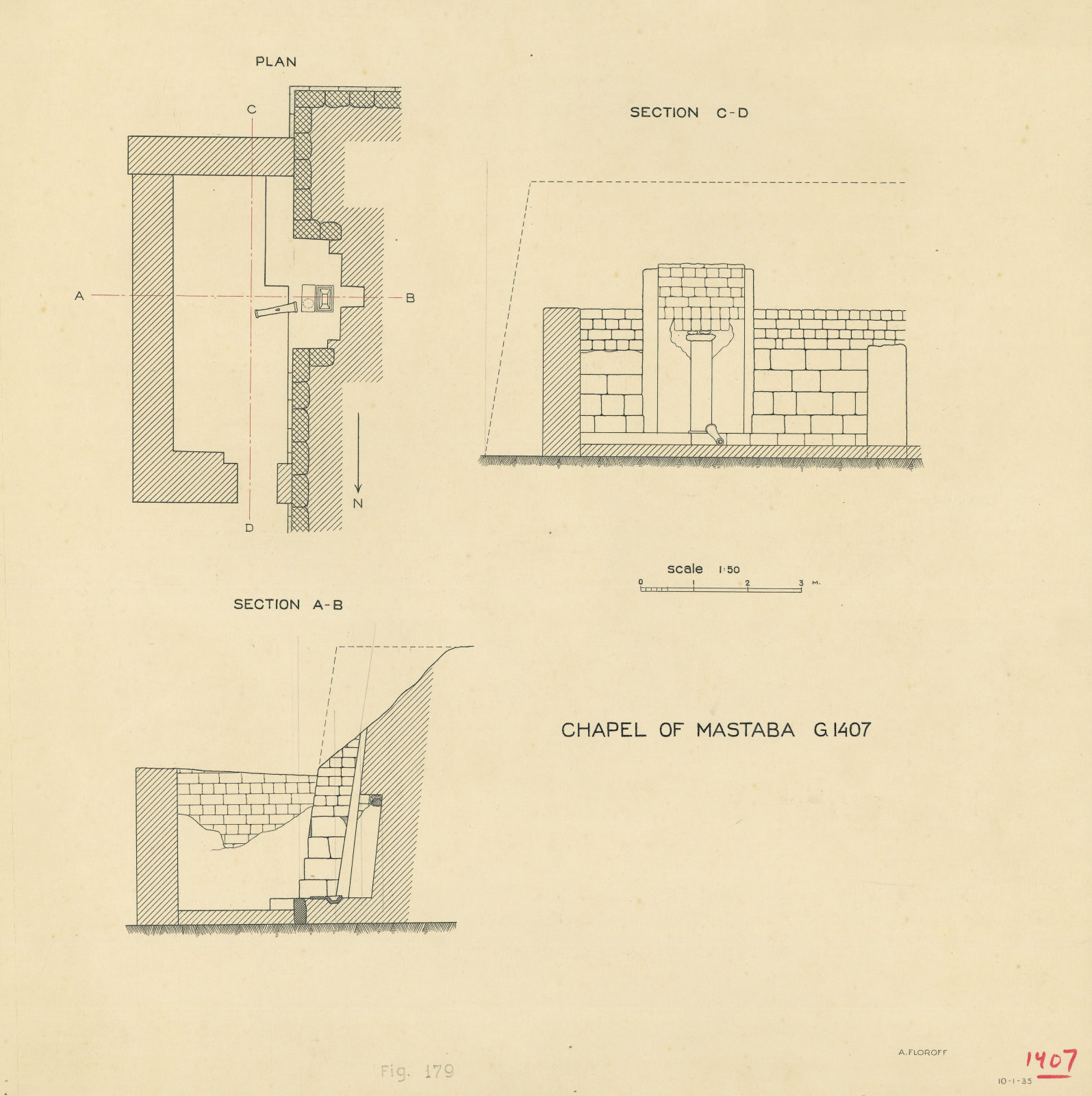 Maps and plans: G 1407, Plan and sections of chapel