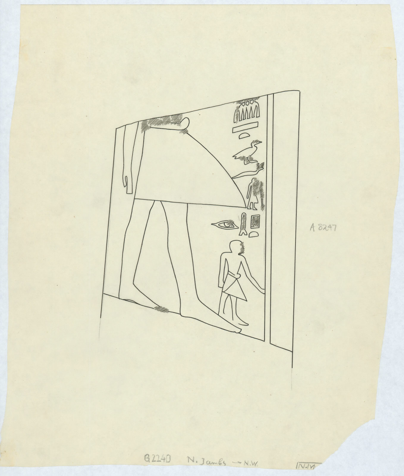 Drawings: G 2240: relief from N jamb