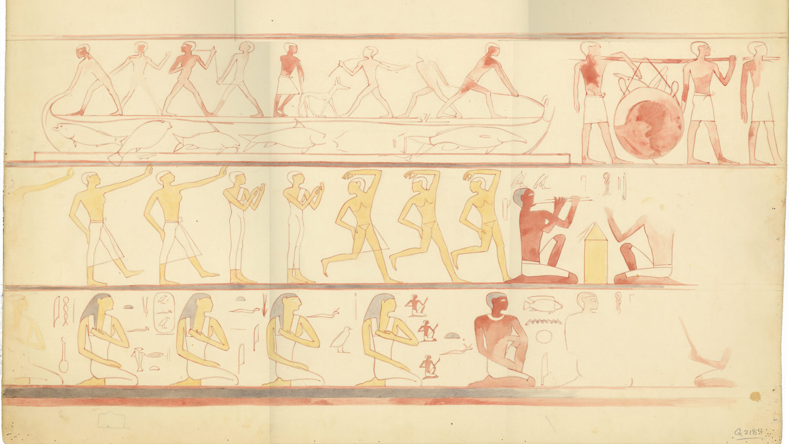 Drawings: G 2184: relief from  from chapel, inner room, E wall (modern painting)