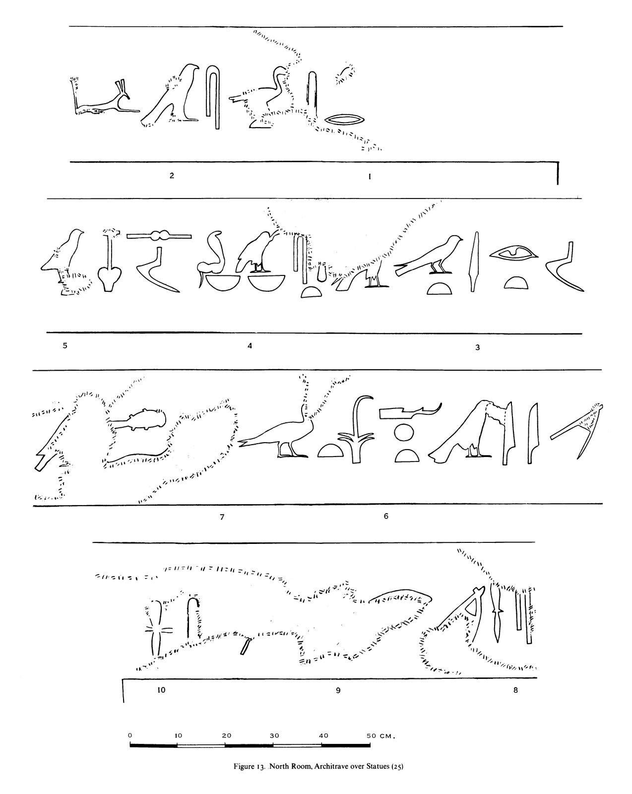 Drawings: G 7530-7540: relief from N room, architrave over statues