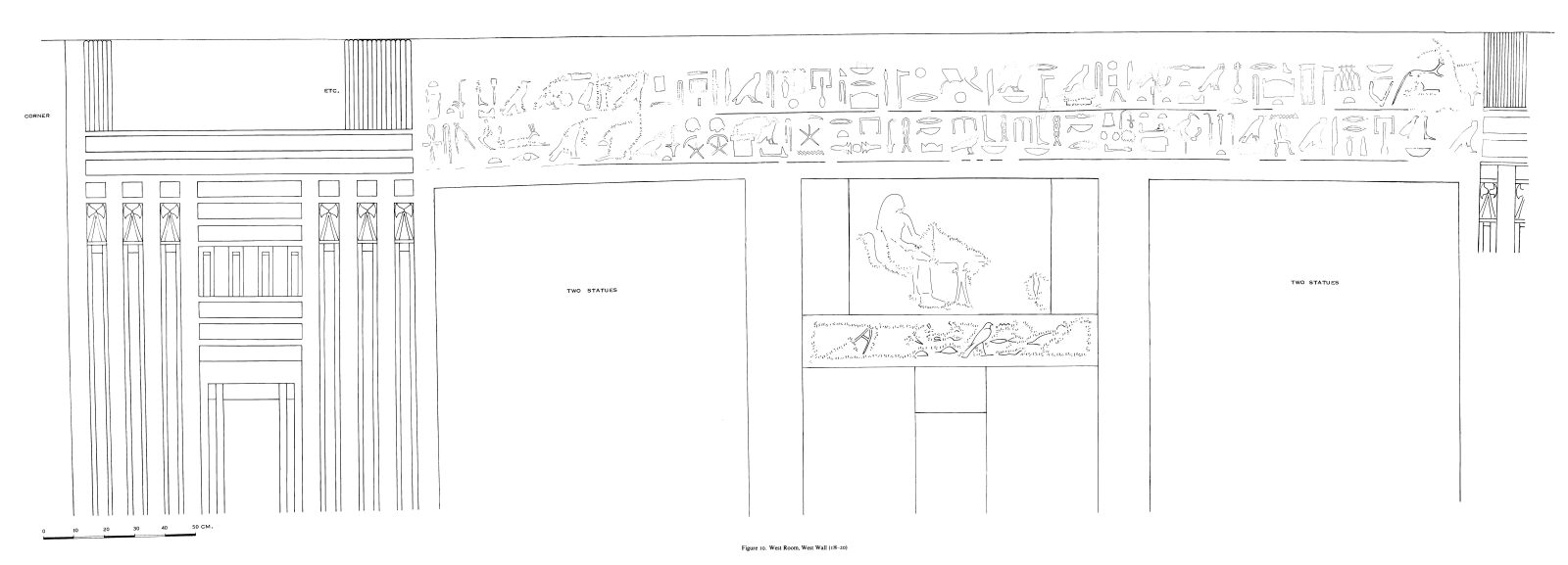 Drawings: G 7530-7540: relief from W room, W wall