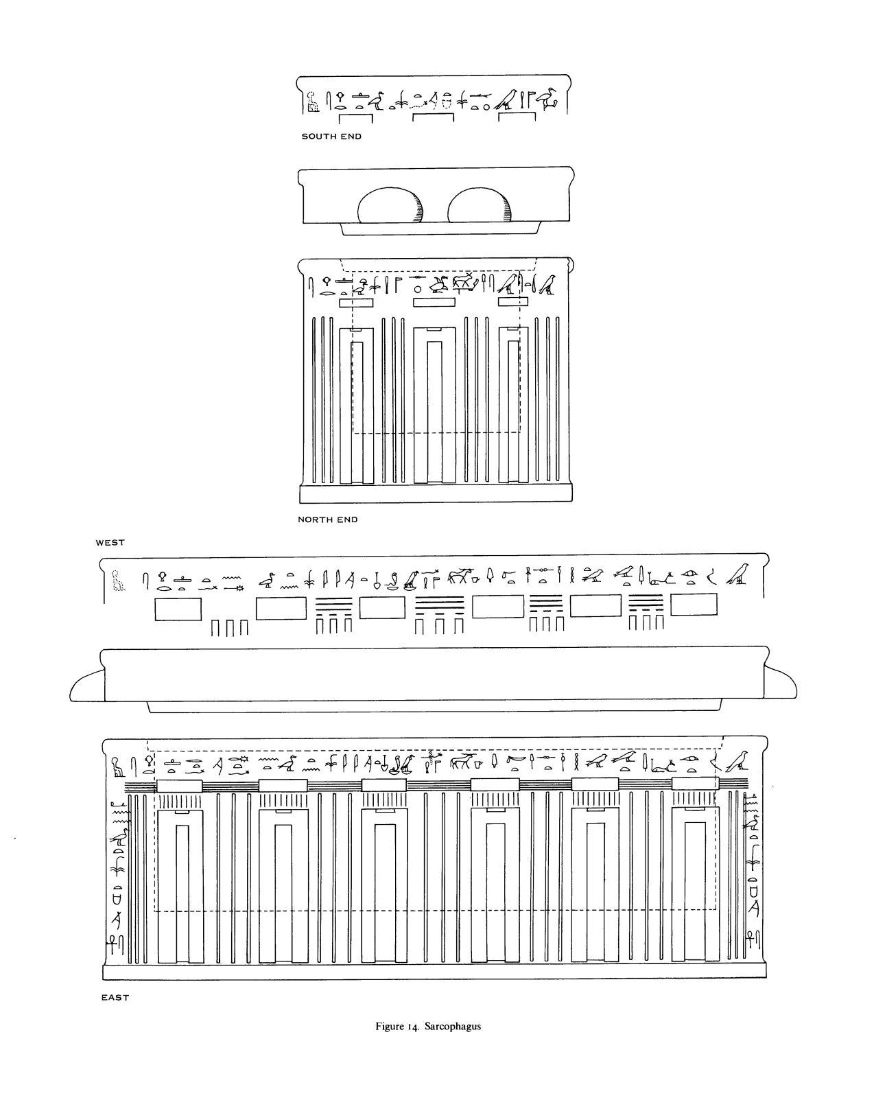 Drawings: G 7530-7540: sarcophagus and lid of Meresankh, black granite