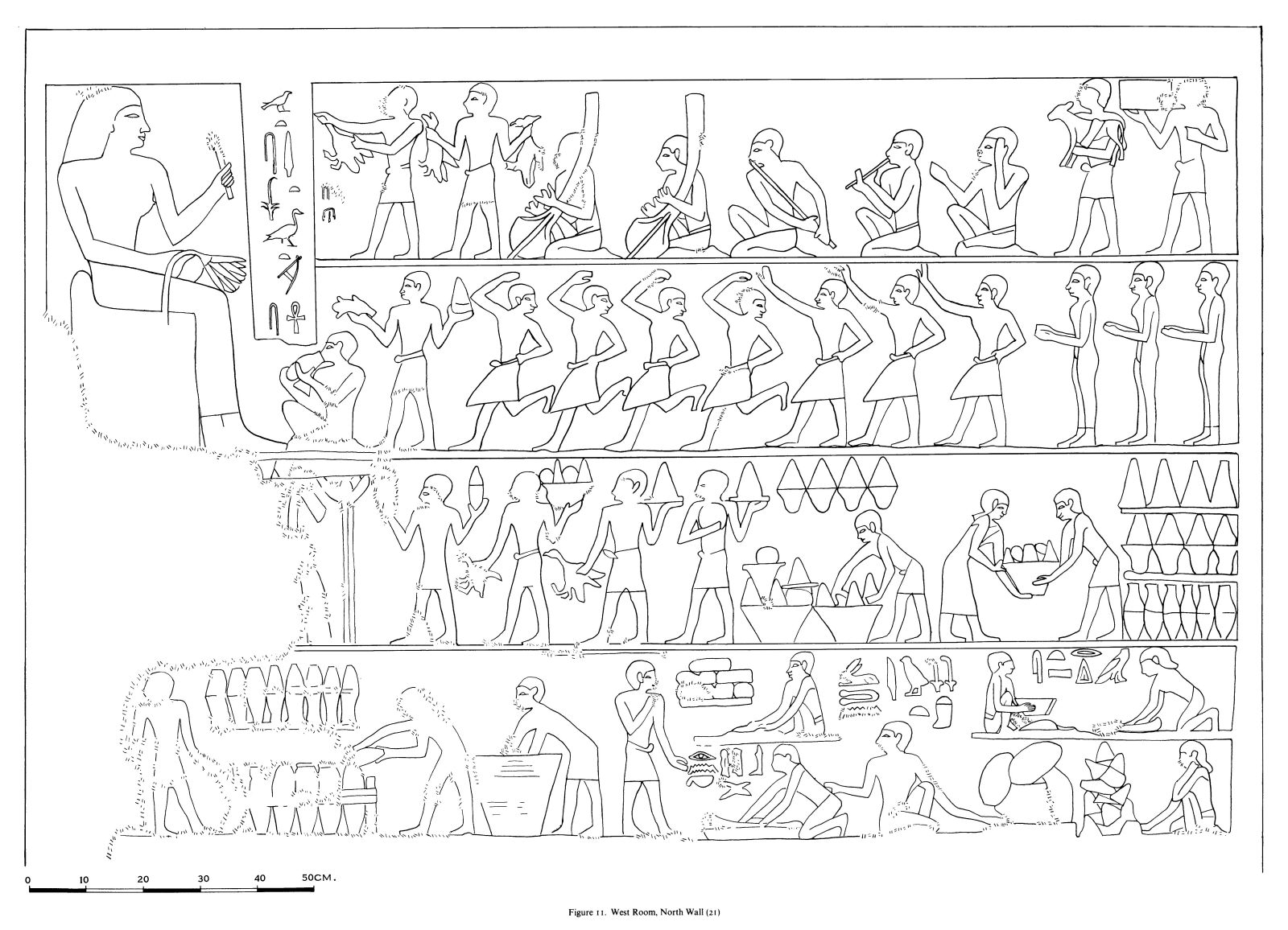 Drawings: G 7530-7540: relief from W room, N wall