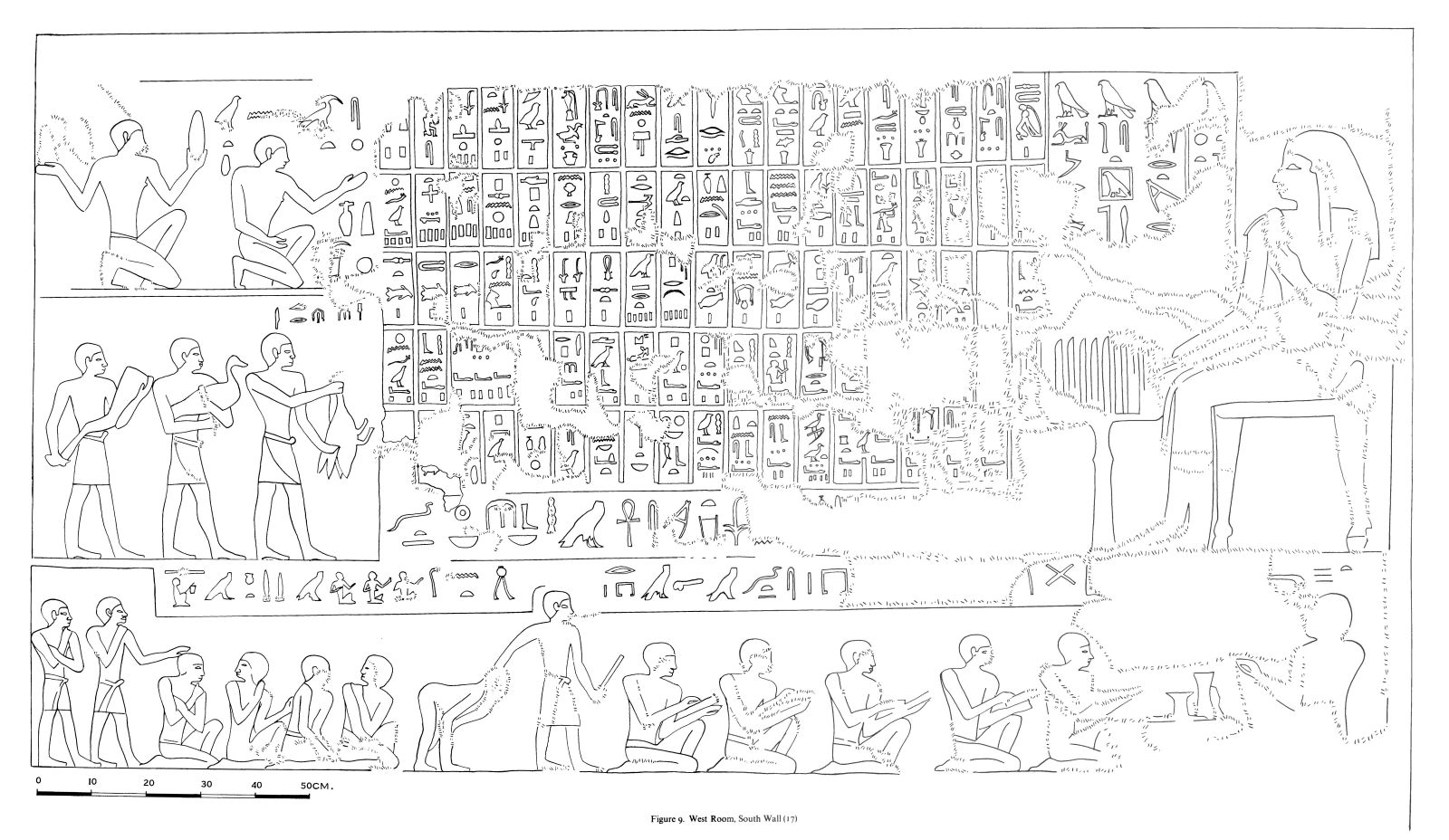 Drawings: G 7530-7540: relief from main room, S wall