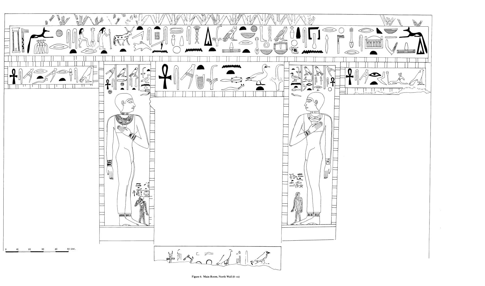 Drawings: G 7530-7540: relief from main room, N wall