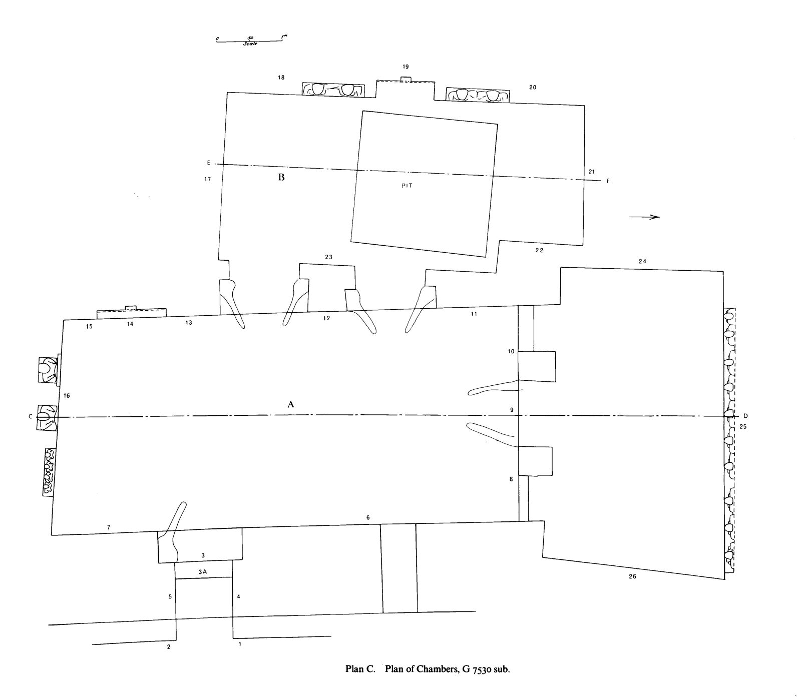 Maps and plans: Plan of G 7530 sub, chambers