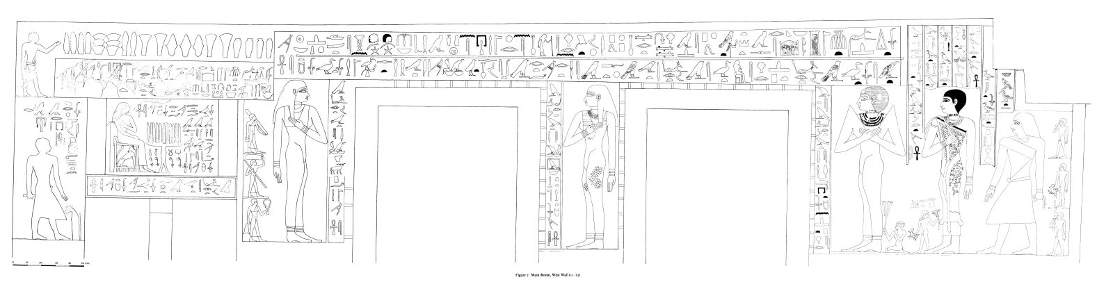 Drawings: G 7530-7540: relief from main room, W wall