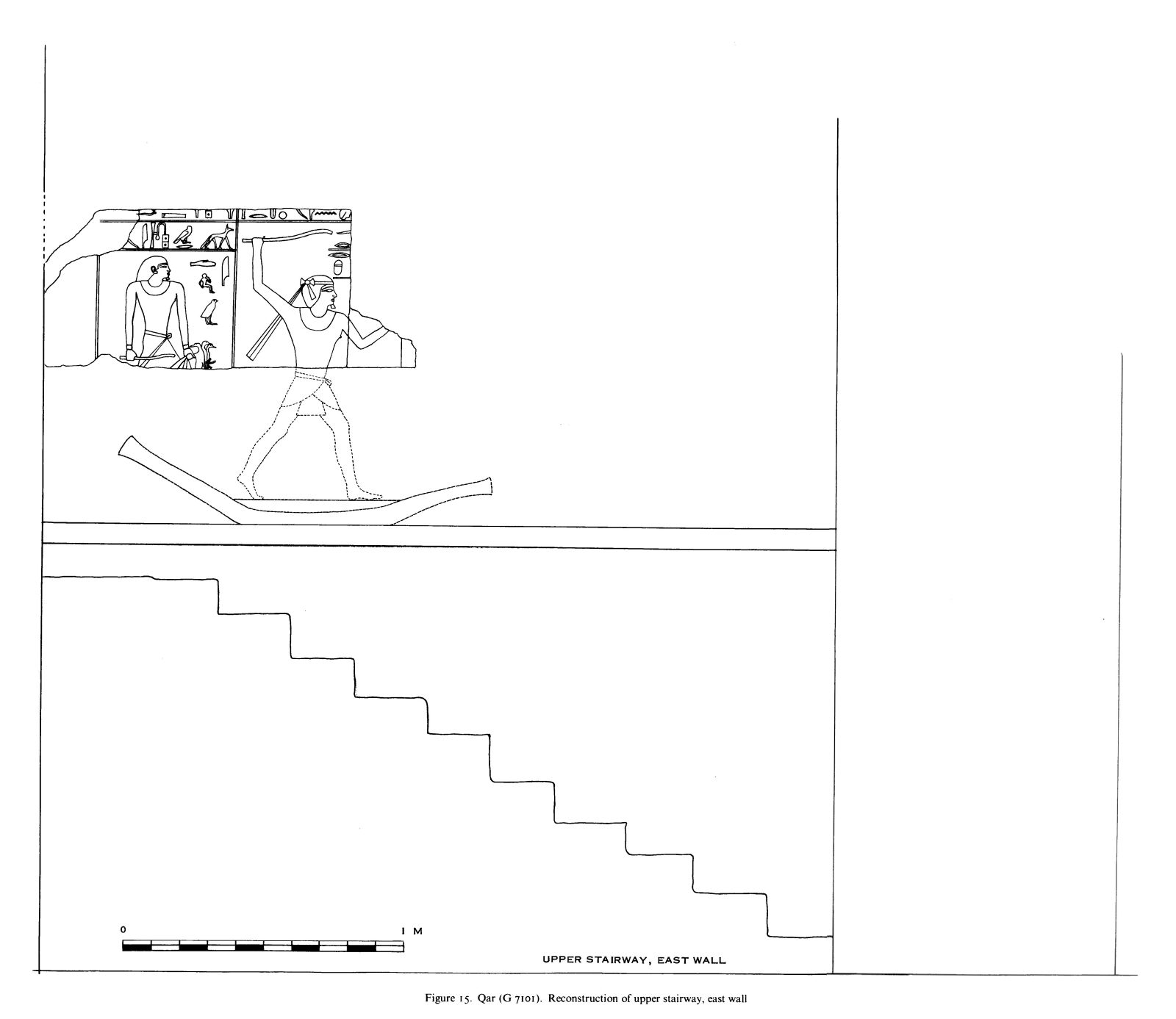 Drawings: G 7101, Elevation of upper stairway, E wall, reconstruction