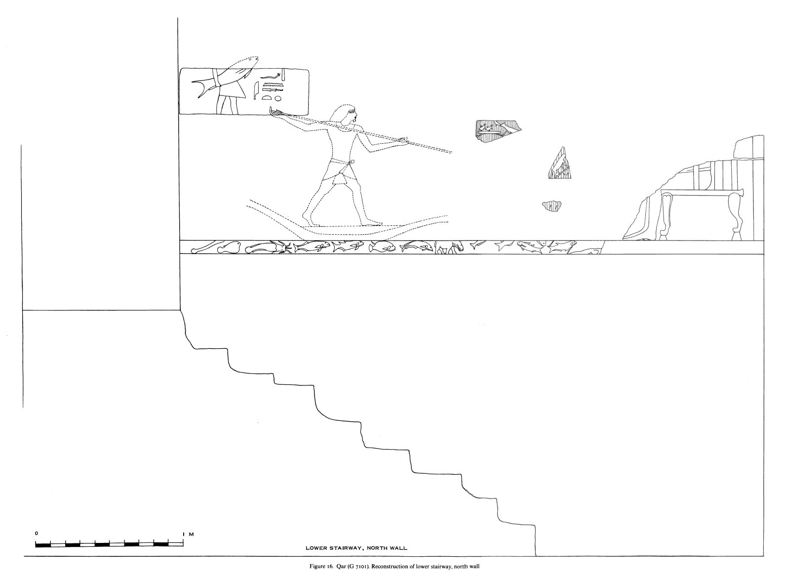 Drawings: G 7101, Elevation of lower stairway, N wall, reconstruction