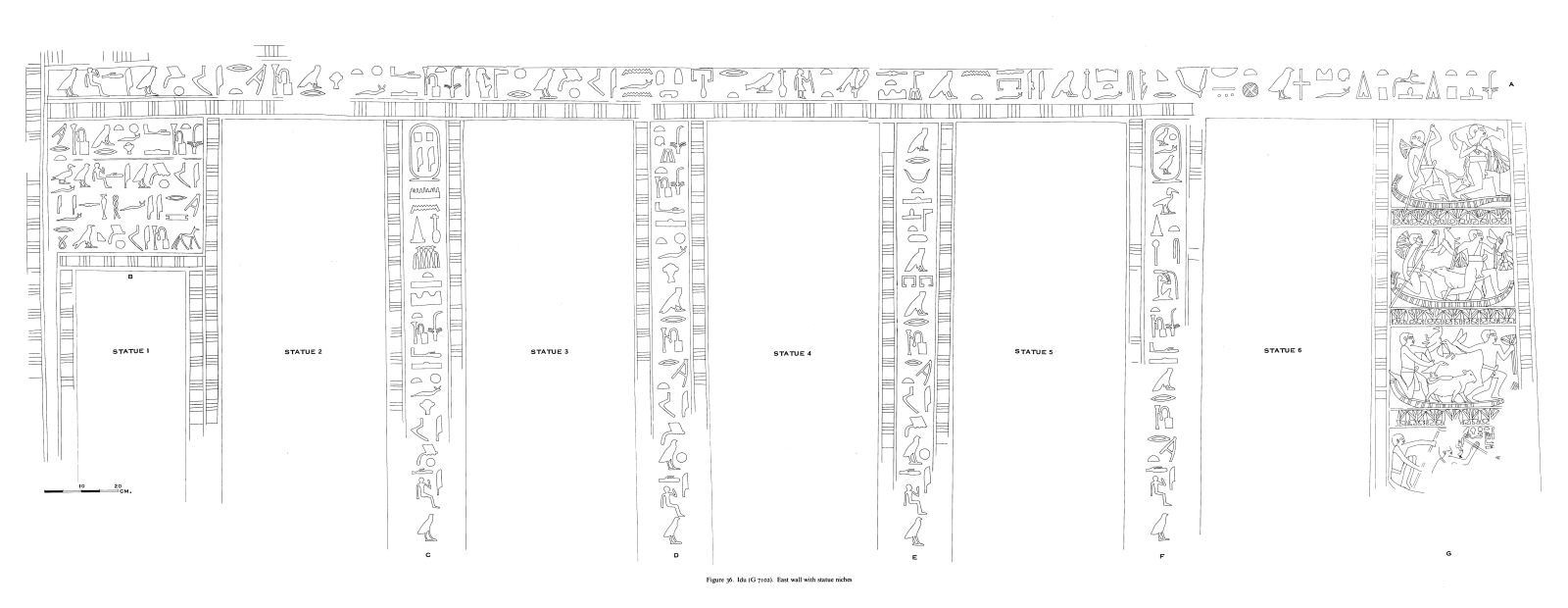 Drawings: G 7102: relief from E wall, with statue niches