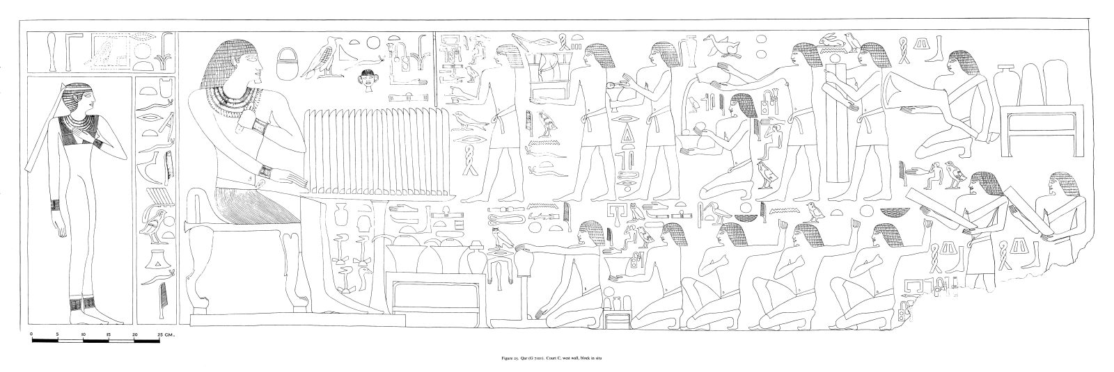 Drawings: G 7101: fragments of relief from Court C, N wall, lintel and text over statues of Room D, S wall