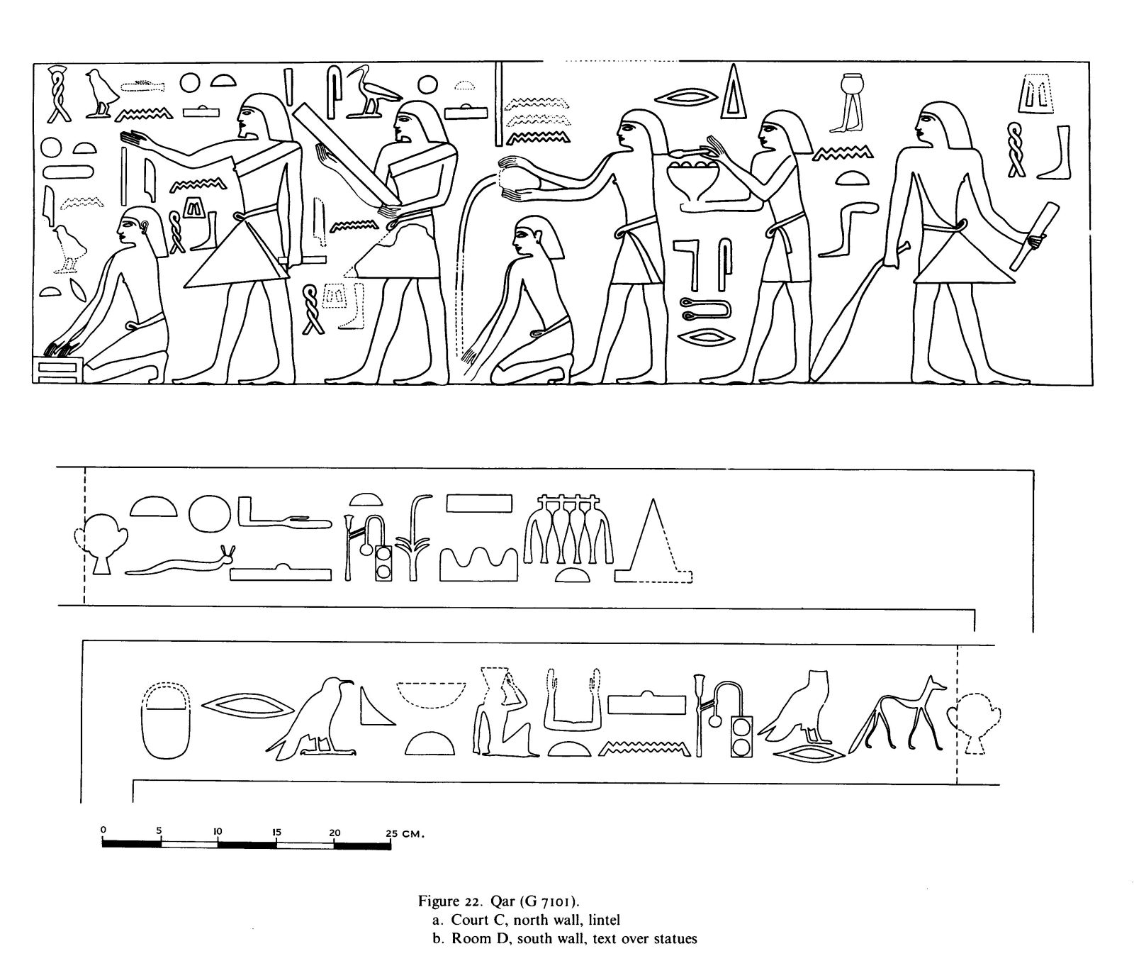 Drawings: G 7101: relief from Court C, N wall, lintel and inscriptions over statues in Room D, S wall