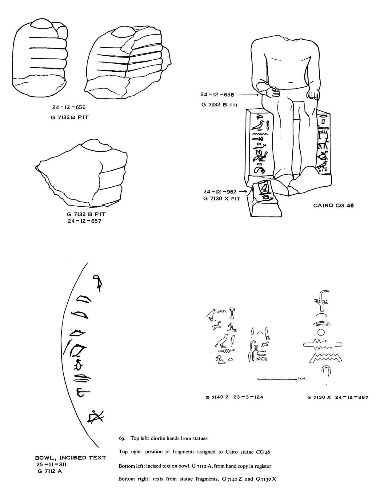 Drawings: Objects from G 7112, G 7130, G 7132, G 7130, Shaft X (= G 7133), G 7140, Shaft Z (= G 7135)