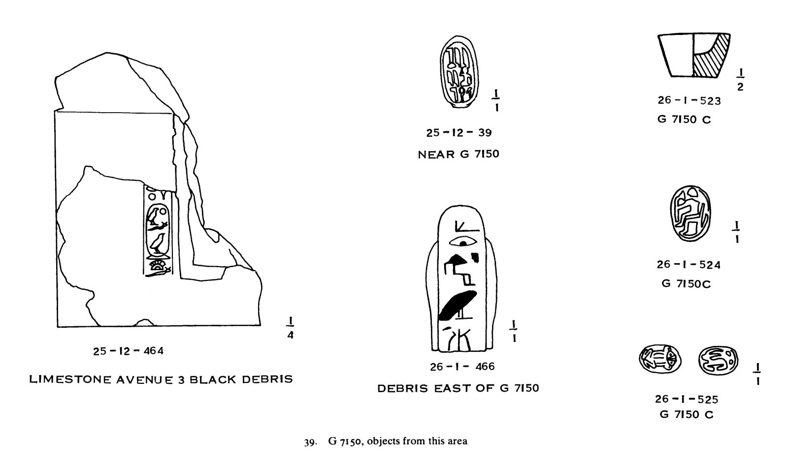 Drawings: G 7150: objects from area of tomb