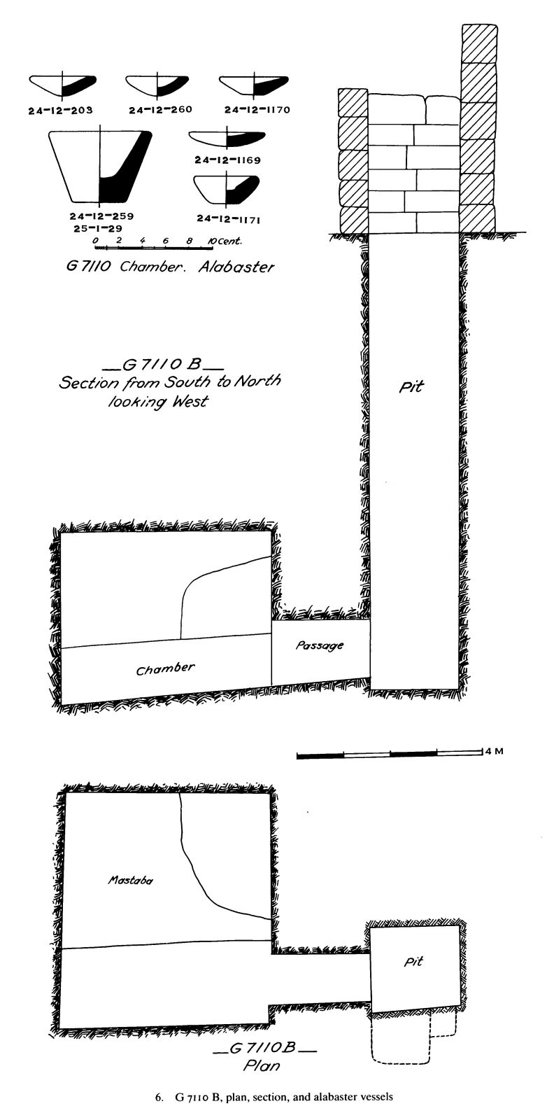 Maps and plans: G 7110, Shaft B; and G 7110: vessels, alabaster