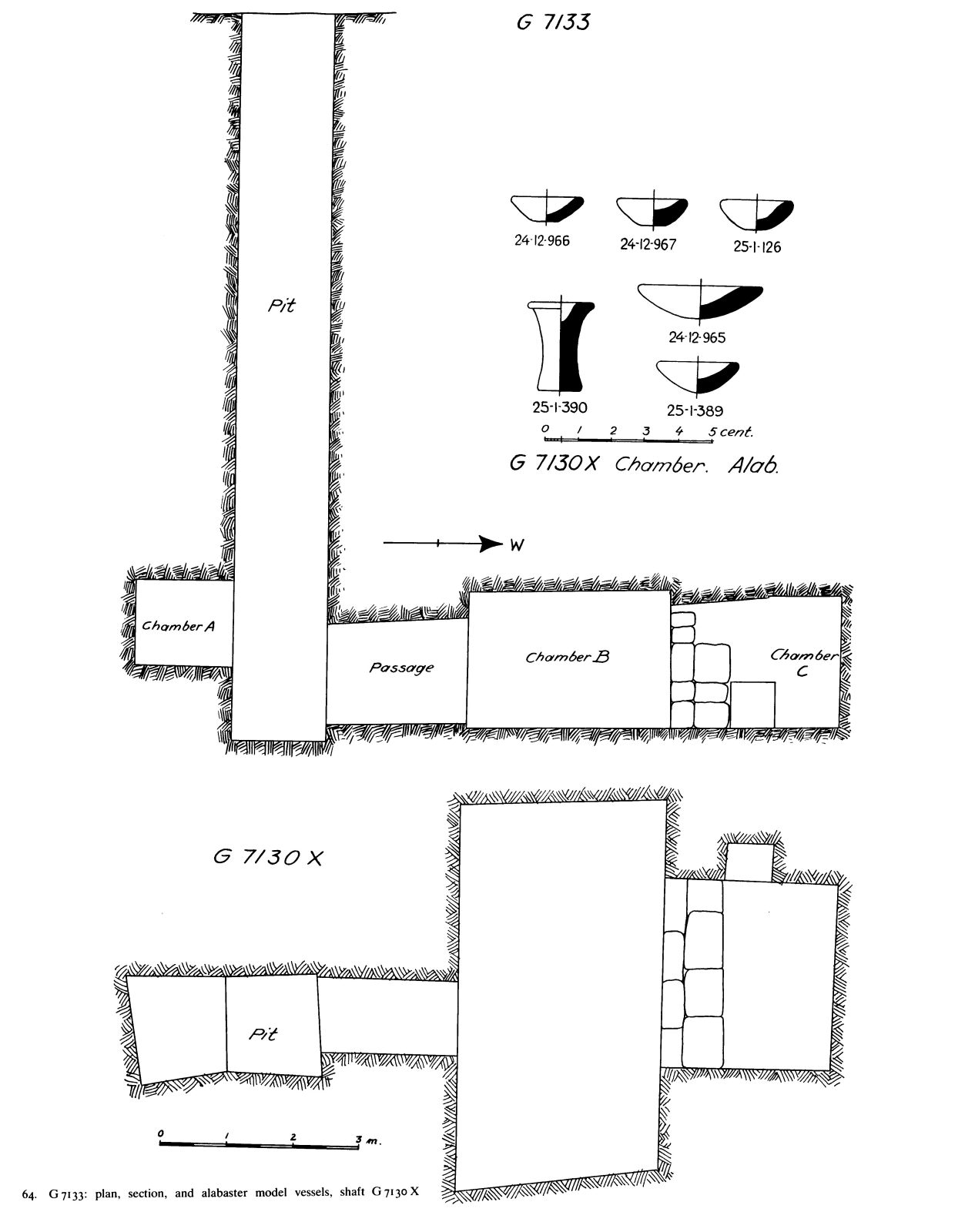 Maps and plans: G 7130, Shaft X (= G 7133) and G 7130, Shaft X: pottery