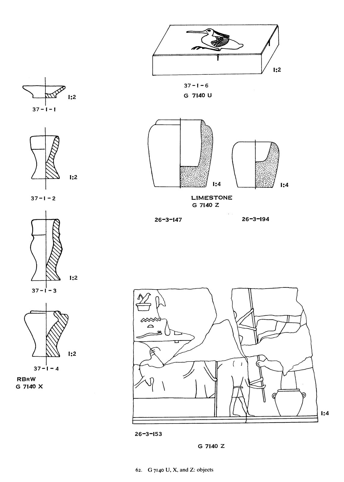 Drawings: G 7140: objects from Shaft U, X, Z