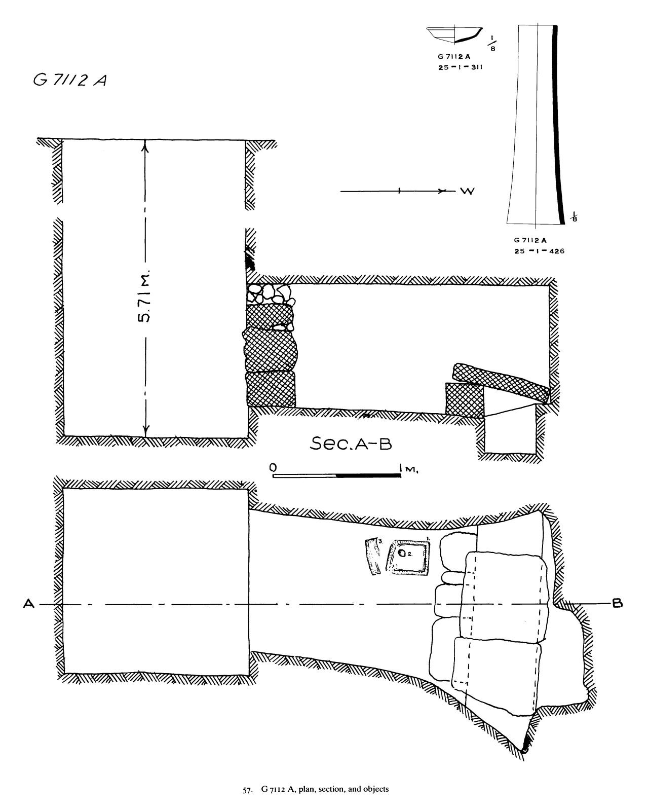Maps and plans: G 7112, Shaft A; and G 7112, Shaft A: pottery