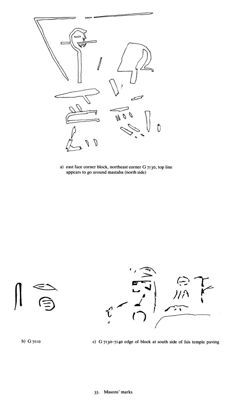 Drawings: Masons' marks from G 7110 and G 7130-7140