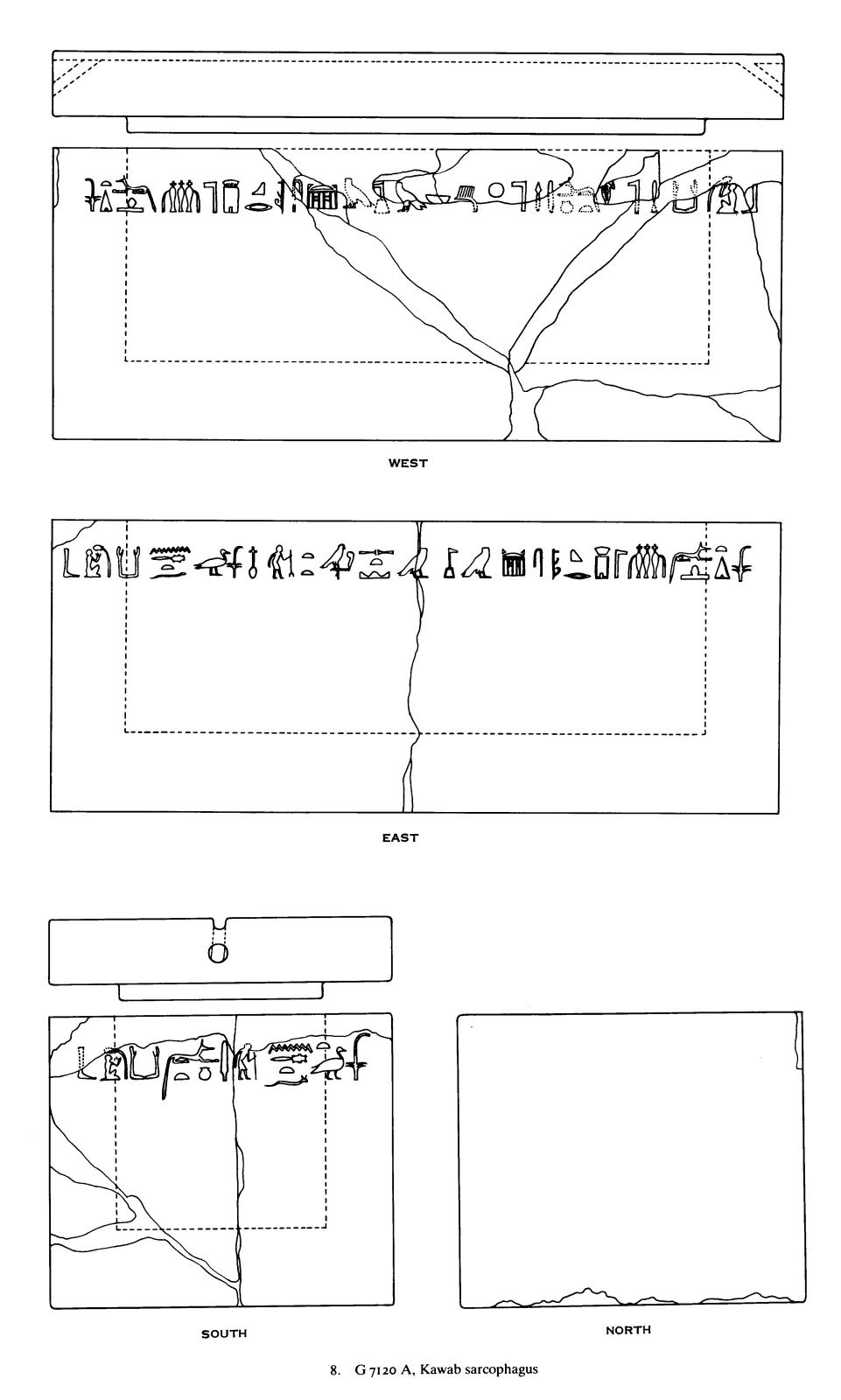 Drawings: G 7120, Shaft A: sarcophagus, red granite