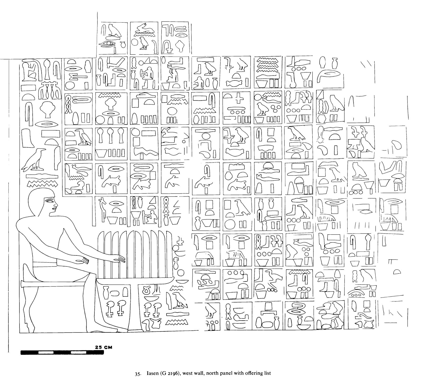 Drawings: G 2196: relief from W wall, N section, offering scene and list