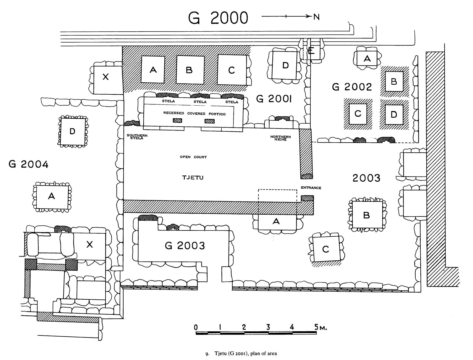 Maps and plans: G 2001, Plan, with positions of G 2000, G 2002, G 2003, G 2004
