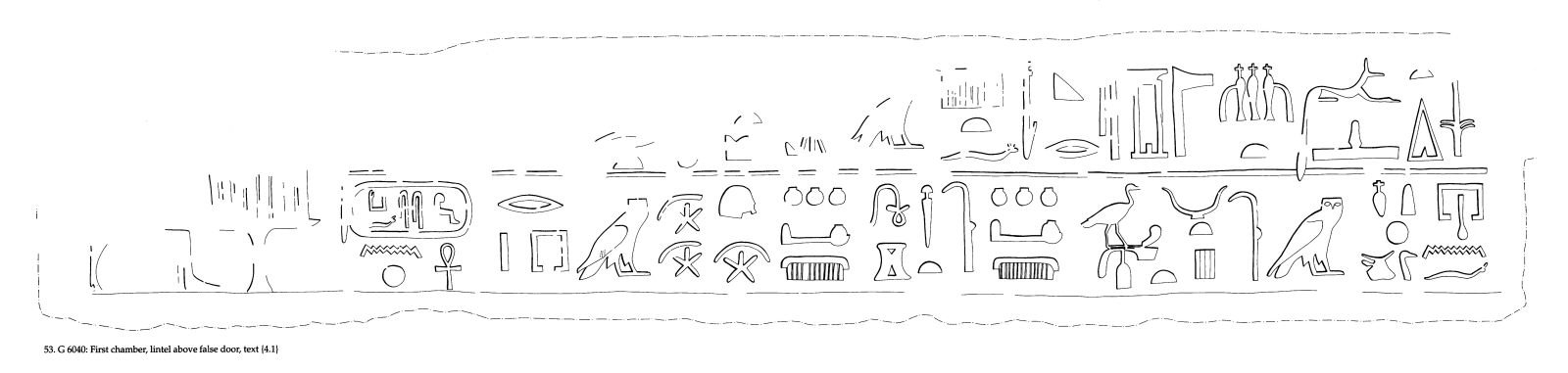 Drawings: G 6040: relief from first chamber, false door lintel
