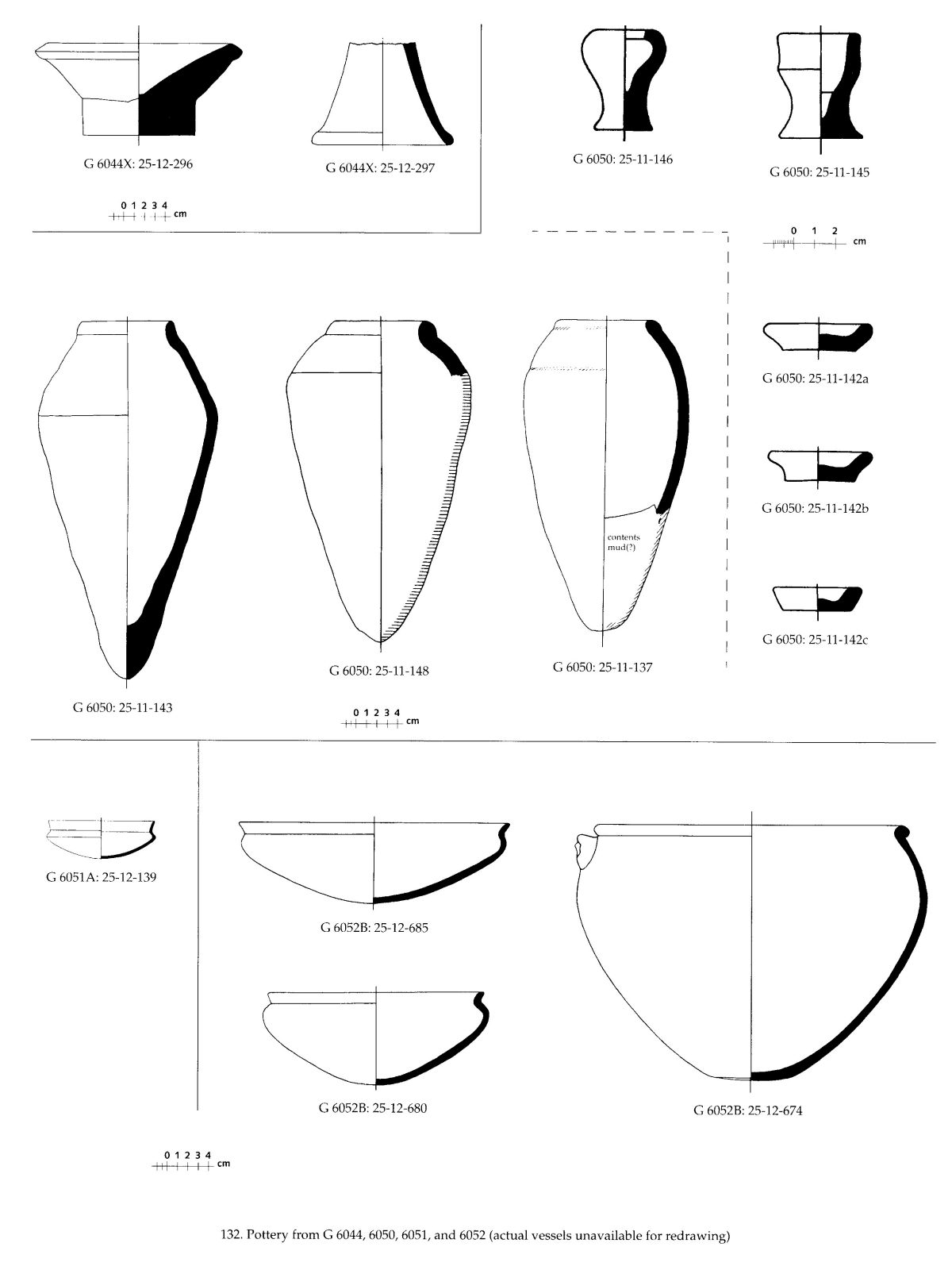 Drawings: Pottery from G 6044, G 6050, G 6051, G 6952