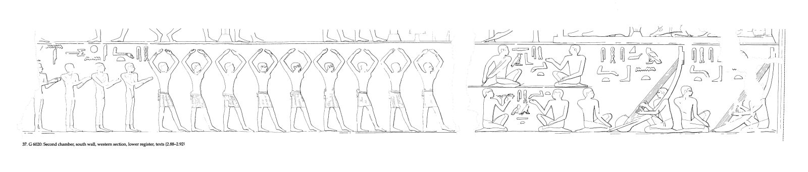 Drawings: G 6020: relief from second chamber, S wall, W section, lower register
