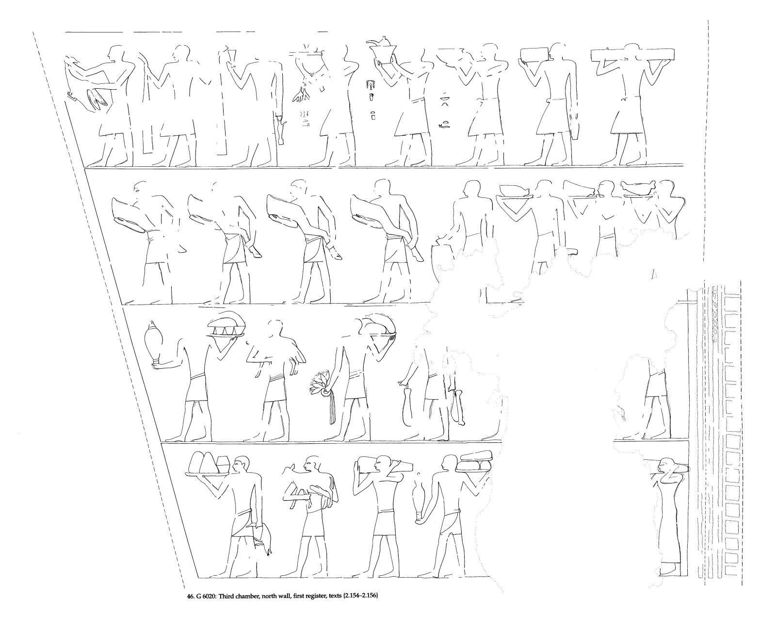 Drawings: G 6020: relief from third chamber, N wall, first register