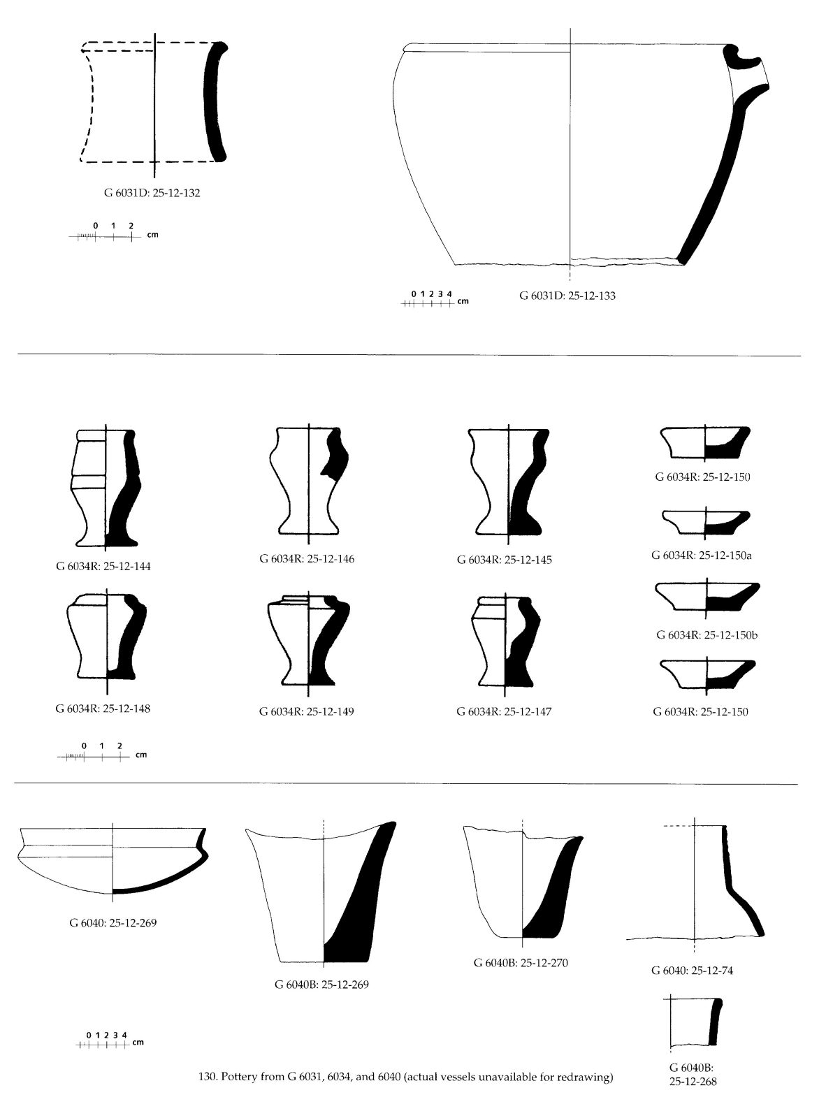 Drawings: Pottery from G 6031, G 6034, Shaft R, G 6040, G 6051, Shaft A,
