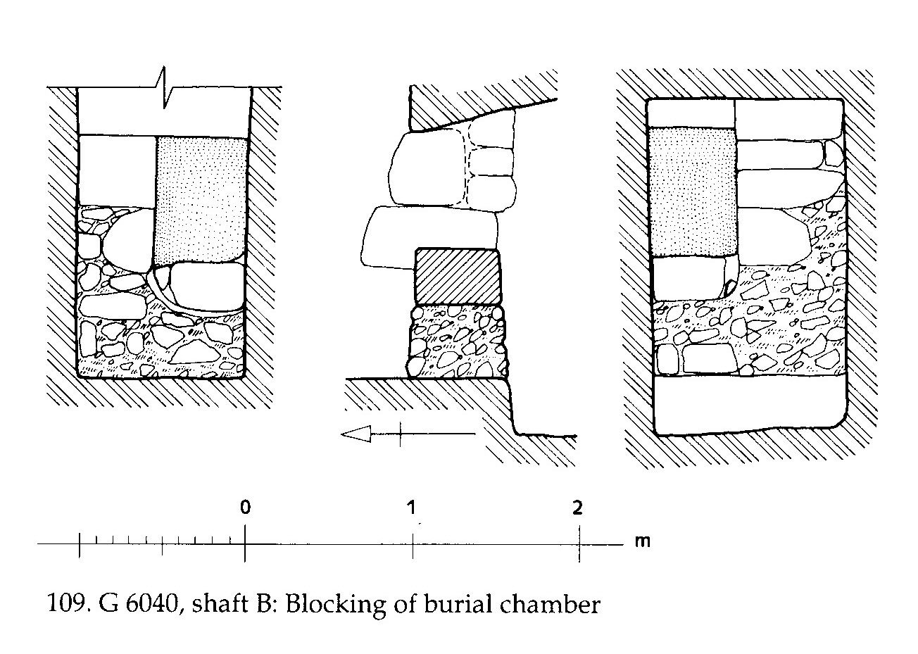Maps and plans: G 6040, Shaft B, Plan, section and elevation of chamber blocking