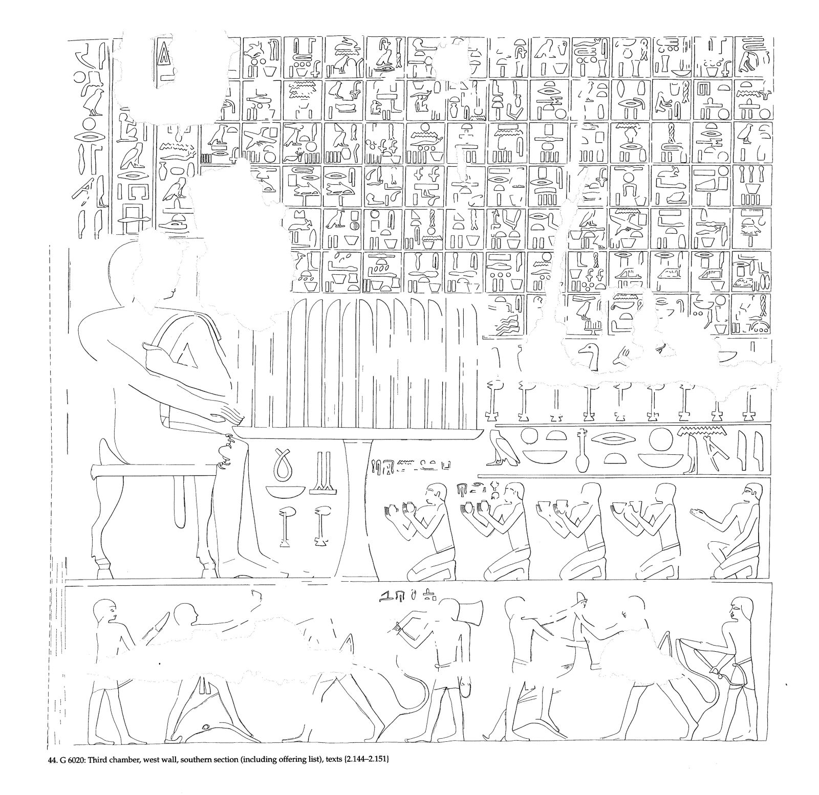 Drawings: G 6020: relief from third chamber, W wall, S section