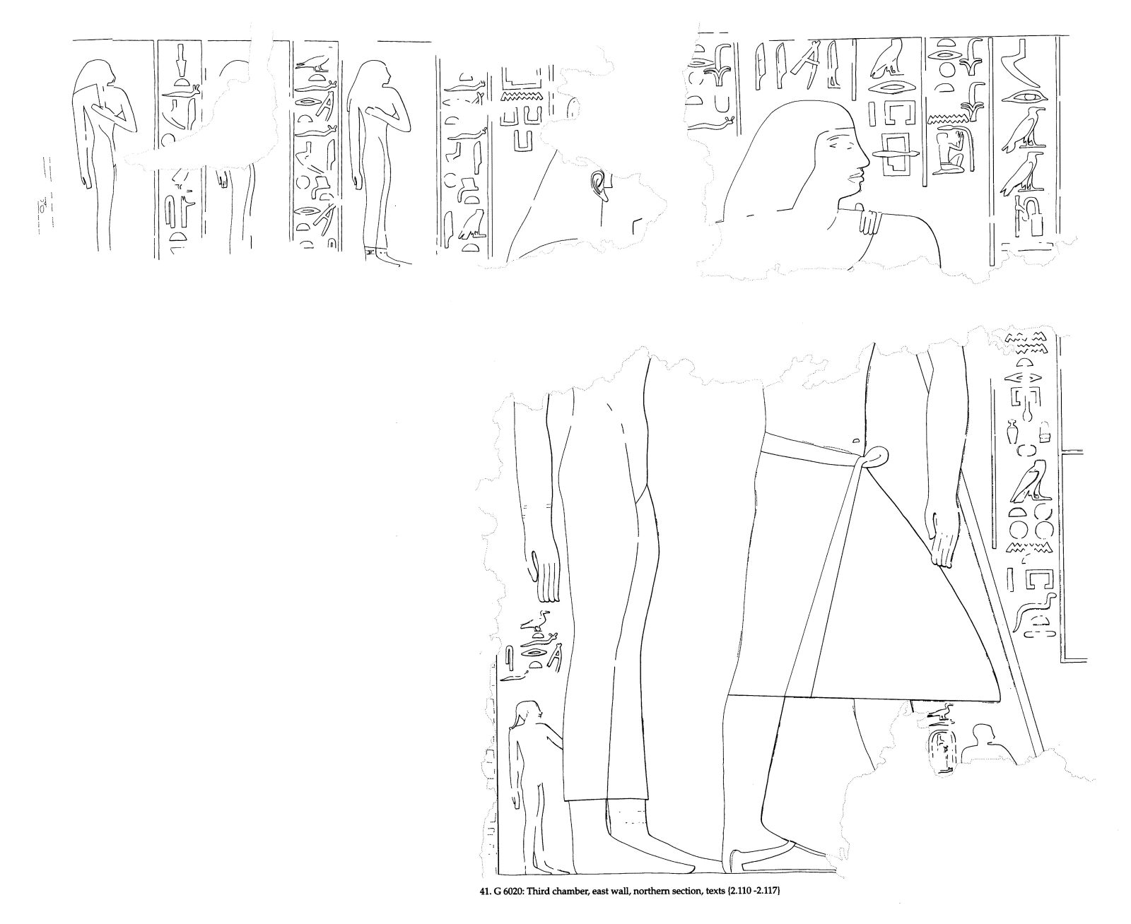 Drawings: G 6020: relief from third chamber, E wall, N section