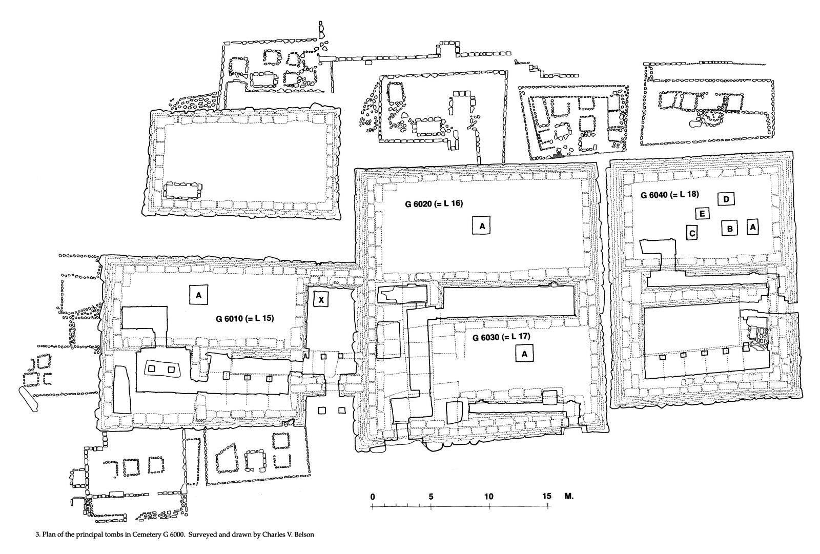 Maps and plans: Plan of Cemetery 6000, principal tombs