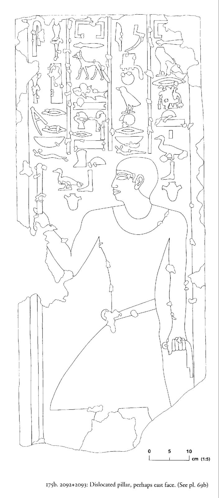 Drawings: G 2092+2093: relief from dislocated pillar, possibly E face