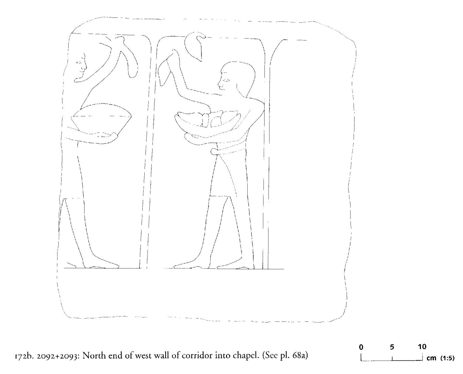Drawings: G 2092+2093: relief from corridor into chapel, W wall, N end