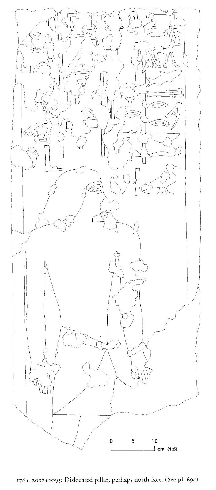 Drawings: G 2092+2093: relief from dislocated pillar, possibly N face