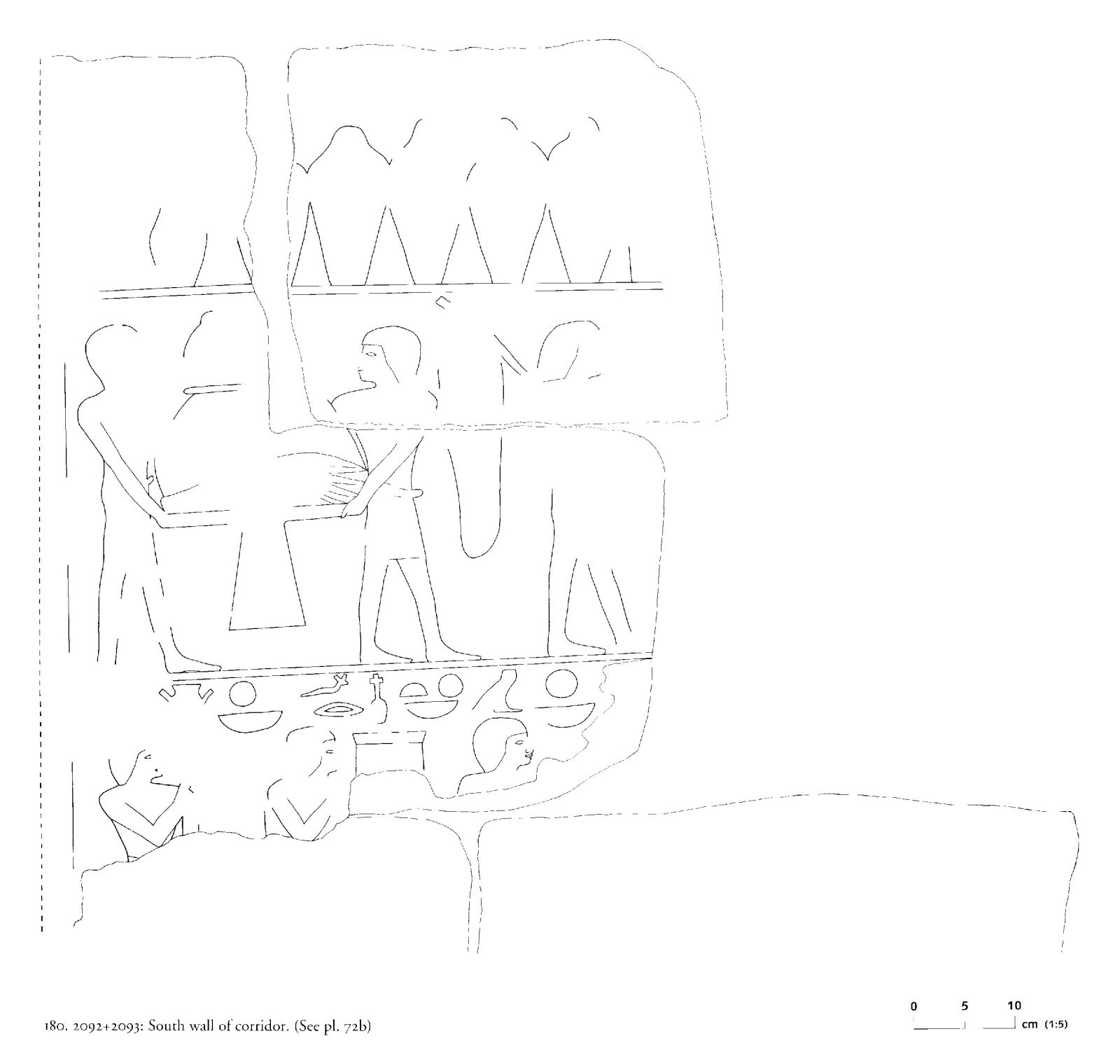 Drawings: G 2092+2093: relief from corridor, S wall