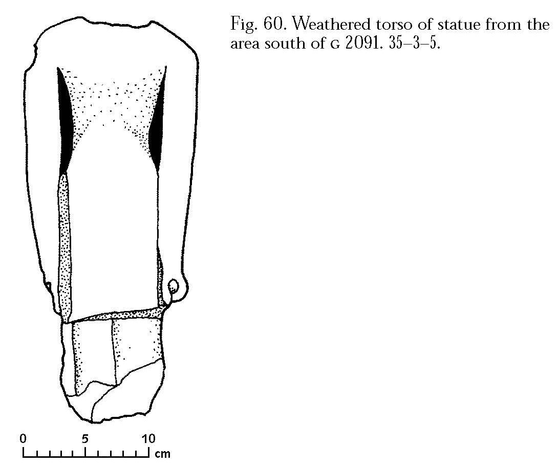 Drawings: G 2091: statue fragment, torso, from S of tomb