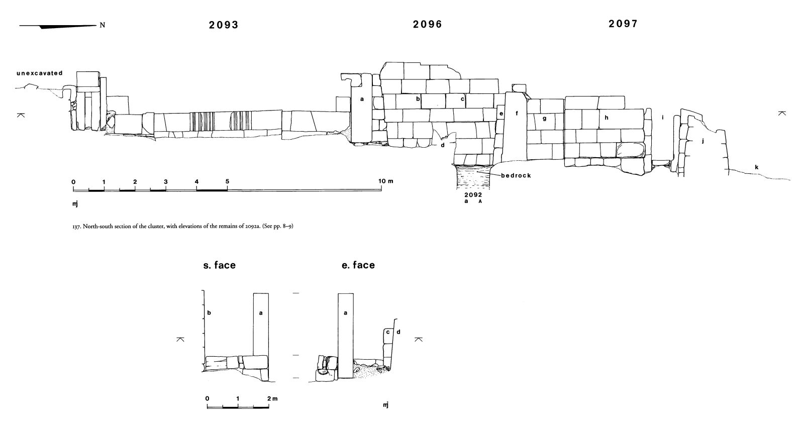 Maps and plans: Elevation of G 2093, G 2096, G 2097, with remains of G 2092a