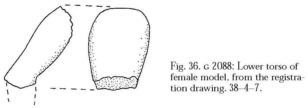 Drawings: G 2088: model figure fragment, lower torso of female