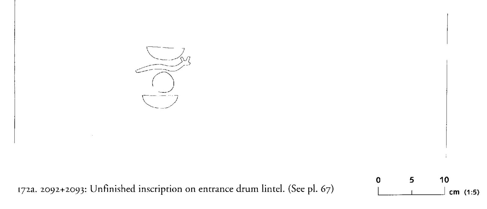 Drawings: G 2092+2093: inscription (unfinished) from entrance, drum