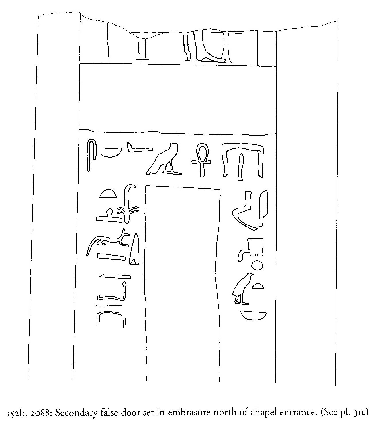 Drawings: G 2088: relief from chapel, N entrance, embrasure, secondary false door
