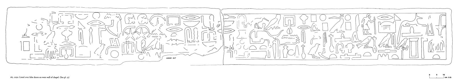 Drawings: G 2091: relief from chapel, W wall, lintel over false doors